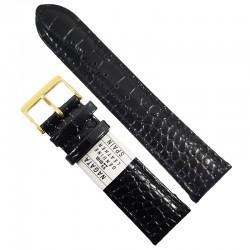 Curea ceas piele naturala neagra NAGATA 20mm / 22mm WZ1715