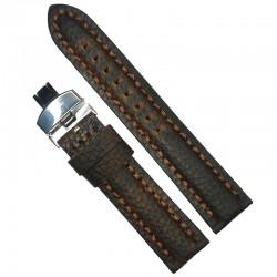 Curea de ceas maro-inchis cu textura bizonata din piele naturala 20mm, 22mm 24mm - WZ4179D