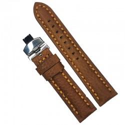 Curea de ceas maro cu textura bizonata din piele naturala 20mm, 22mm 24mm - WZ4178D