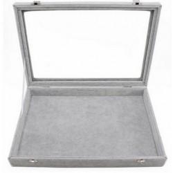 Caseta Gri monovolum pentru prezentare bijuterii cu capac transparent