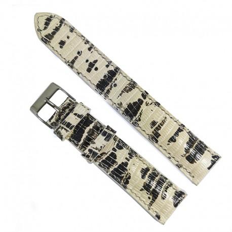 Curea de ceas Dracori Handmade din piele naturala Alb cu Negru 20mm WZ4571
