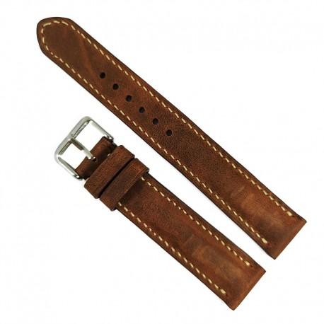 Curea de ceas Dracori Handmade din piele naturala Maro 18mm WZ4572
