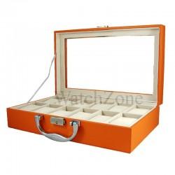 RESIGILAT Cutie pentru depozitare si organizare 12 ceasuri  ORANGE