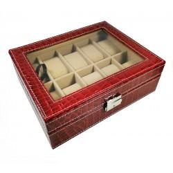 Cutie pentru 10 ceasuri Piele ecologica Rosie WZ4688