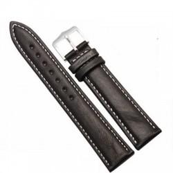 Curea ceas piele negru + cusatura alba 8 mm - 26 mm