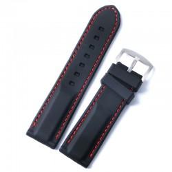 Curea Ceas Silicon Neagra Cusatura Rosie 20mm 22mm WZ651