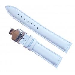 Curea Ceas Piele Alba cu Deployant 16 mm 18 mm 20 mm 22 mm 24 mm C054