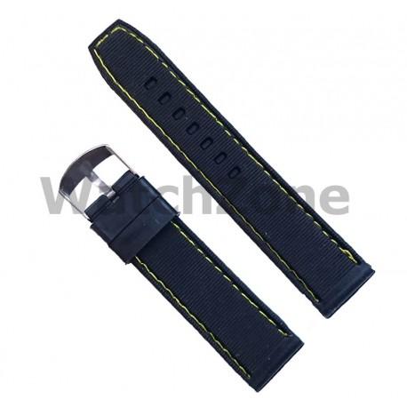 Curea silicon negru cu puncte si cusatura galbena 22mm