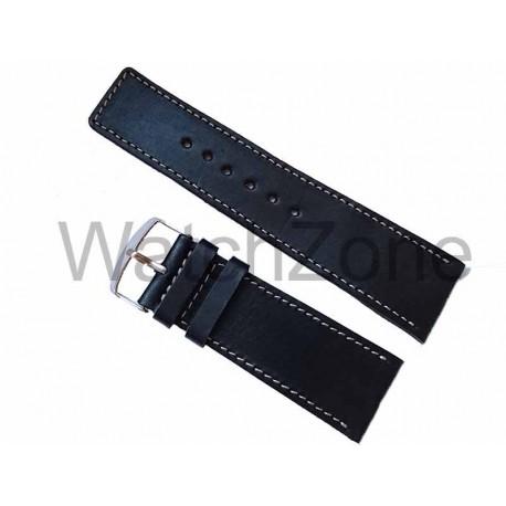 Curea ceas HAND MADE Neagra Cusatura Alba 26mm, 28mm, 30mm