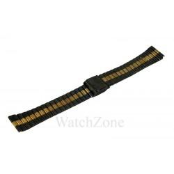 Bratara ceas neagra  cu auriu 18mm