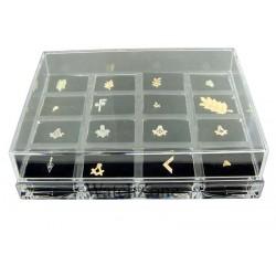 Cutie inele 16 spatii din material acrilic transparent