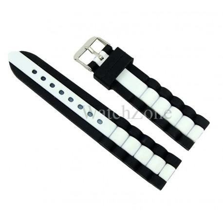 Curea ceas silicon 20mm bicolora alb - negru