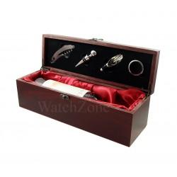 Caseta lemn prezentare si desfacere vin cu 4 accesorii