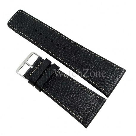 Curea ceas piele neagra cusatura alba HANDMADE 34mm