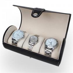 Caseta pastrare si transport 3 ceasuri piele ecologica negru / maro