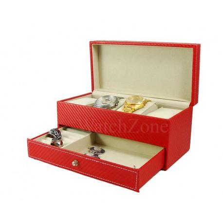 Cutie depozitare ceasuri si bijuterii rosie Adele