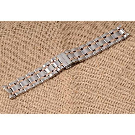 Bratara ceas otel inoxidabil 22mm capete curbate bicolora