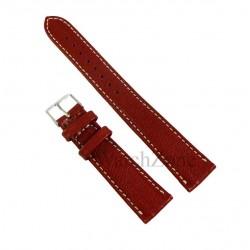 Curea ceas piele naturala rosu inchis cusatura alba 20mm 22mm