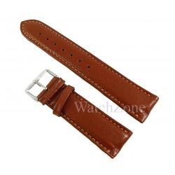 Curea ceas piele naturala maro cusatura crem 24mm