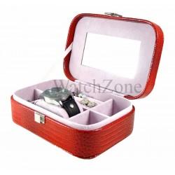 Caseta bijuterii piele ecologica DENISE rosie / neagra / camel WZ1784