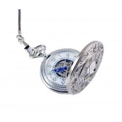 Ceas De Buzunar Mecani Argintiu Goer