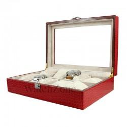 Cutie ceasuri 8 spatii lemn invelit in piele rosu / negru