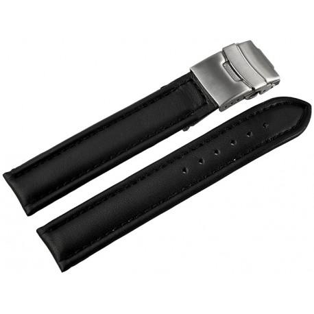 Curea Ceas Piele Naturala Neagra Semilucioasa Deployant 16mm - 24mm 816210100018