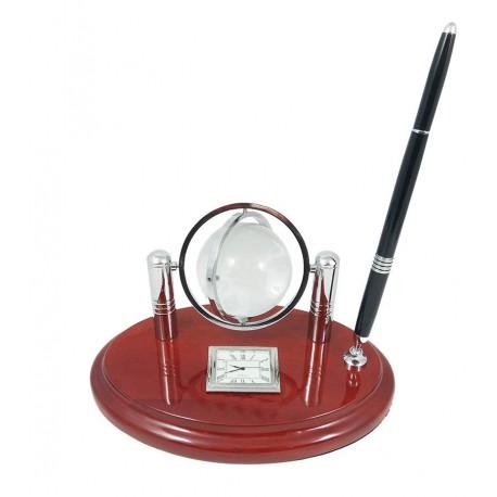 Set Birou Lemn cu Glob Pamantesc Cristal si Ceas WZ2061
