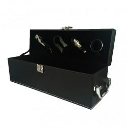 Cutie Pentru Vin cu Accesorii 1 Spatiu Piele Ecologica Neagra WZ2111
