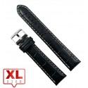 Curea Ceas Piele Naturala Neagra Imprimeu Crocodil XL 20mm WZ2208