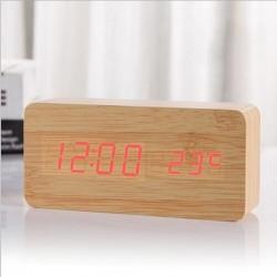 Ceas De Masa LED cu Alarma si Termometru Bamboo WZ2238