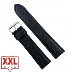 Curea Ceas XXL Piele Naturala Neagra Imprimeu Crocodil 24mm WZ2312
