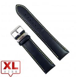 Curea Ceas XL Piele Naturala Neagra Cusatura Galbena 24mm WZ2319