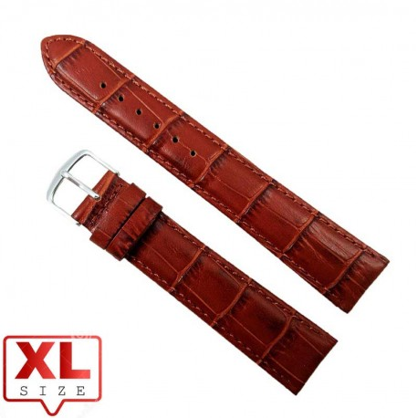 Curea Ceas Piele Naturala XL Maro Imprimeu Crocodil 20mm WZ2320