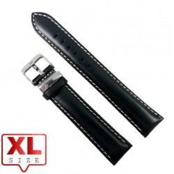 Curea Ceas Piele Naturala XL Neagra Cusatura Alba 20mm WZ2326