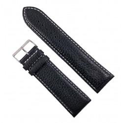 Curea Ceas XL Piele Naturală Neagră Cusătură Albă 28mm WZ2355