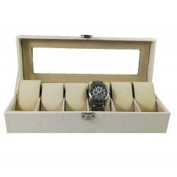 Cutie Ceasuri Cu 6 Spații Alb   Negru   Sidef