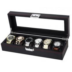 Casetă pentru 6 ceasuri, stil carbon - WZ2488
