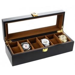 Casetă pentru 6 ceasuri, interior cafeniu - WZ2490