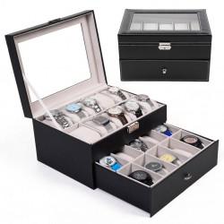 Cutie depozitare 20 ceasuri piele ecologica