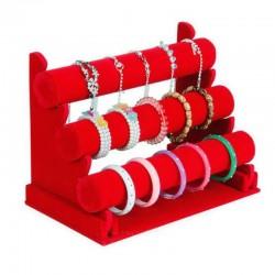 Suport brățări, ceasuri și bijuterii catifea negru, roșu și gri