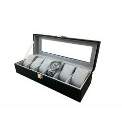 Cutie depozitare și expunere CARBON - 6 ceasuri