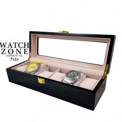 Cutie depozitare din piele visinie pentru 6 ceasuri
