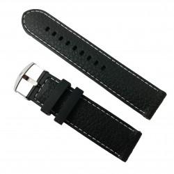 Curea Neagră Silicon, cusătură albă - 22mm