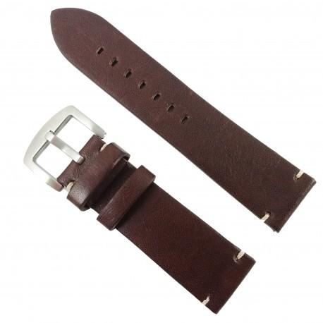 Curea de ceas din piele naturală maroniu - 24mm WZ2878