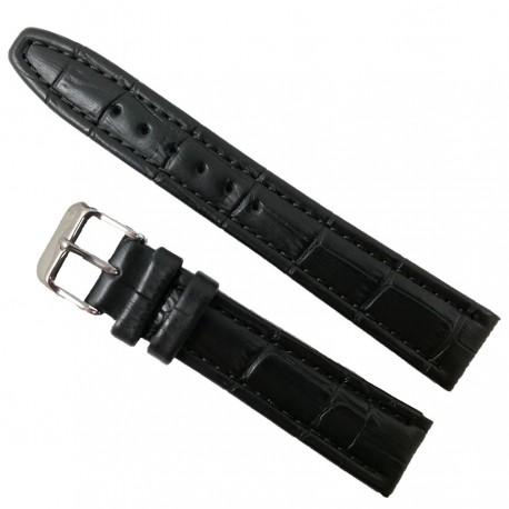 Curea Ceas Piele Naturala Neagra Imprimeu Crocodil - 18mm WZ2019