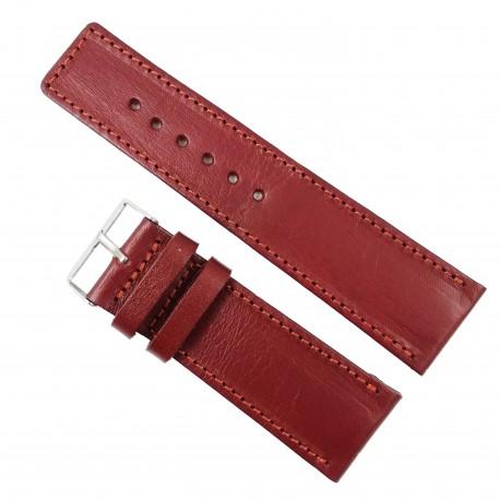 Curea de ceas din piele naturala HandMade Visinie - 30mm