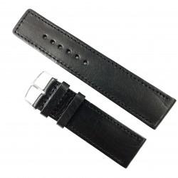 Curea de ceas din piele naturala HandMade Neagra - 28mm WZ2921