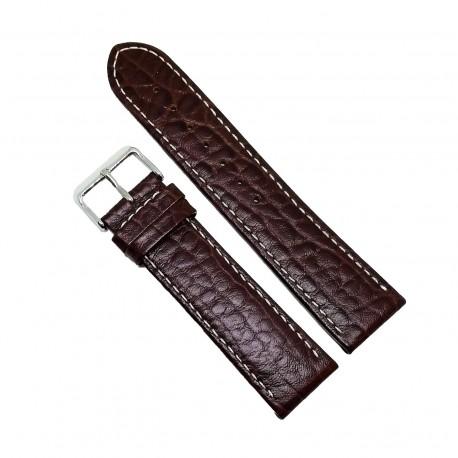Curea pentru ceas din piele naturala Maro - 24mm - C2953