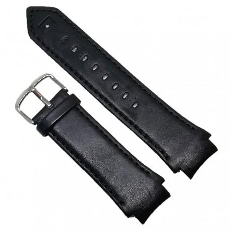 Curea de ceas din piele naturala neagra Puma, capete curbate - 20/26mm - C2977